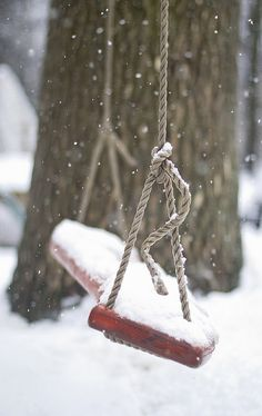 I wish I lived in a place where this was a yearly occurrence...and where I could wrap up in warm layers, swing like I did as a little girl and catch snowflakes on my tongue...Pure bliss!!