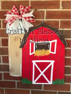 This Barn Wooden Sign is a super cute addition to your front door! These are made to order and can be customized to say anything! Please let me know at time of purchase if you want to add wording. It is hand painted on 1/2 blonde wood plywood with acrylic paint and sealed with a clear