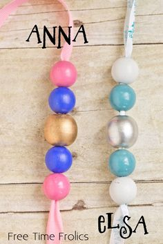 Elsa and Anna Frozen Inspired Necklaces via Free Time Frolics Frozen Themed Birthday Party, Frozen Birthday Party, Frozen Party, Birthday Party Themes, Birthday Ideas, 4th Birthday, Frozen Birthday Activities, Frozen Activities, Frozen Summer