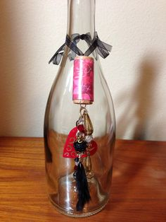 Wine cork bottle decor on Etsy, $15.00