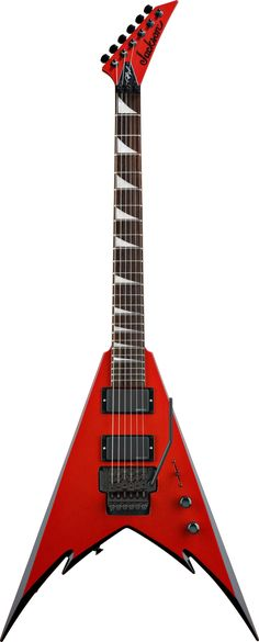 Jackson Demmelition King V. The red finish with the black binding combined with the bevels in the V make for a sick looking guitar.