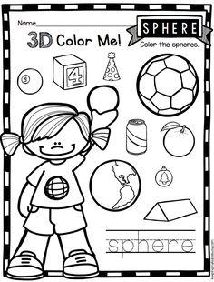 3D SOLIDS - Adorable way to practice 3D solids - Kindergarten worksheets - kindergarten geometry common core math unit