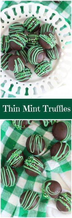 These Thin Mint Truffles arent all that different from the recipe for Oreo Cookie Balls You start with crushed cookie crumbs add cream cheese and roll into balls Dunk in. Candy Recipes, Sweet Recipes, Dessert Recipes, Irish Recipes, Delicious Recipes, Cake Truffles, Chocolate Truffles, Baking Chocolate, Mint Chocolate