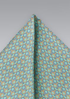 Patterned Pocket Square in Aquas and Blues