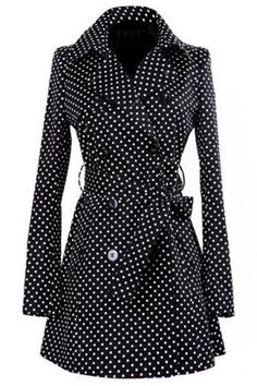 Vintage Turn-Down Collar Long Sleeve Polka Dot Self Tie Belt Coat Dress For Women Mode Style, Style Me, Preppy Style, Classic Style, Look Fashion, Womens Fashion, Fashion Coat, Dress Fashion, Fashion Shoes