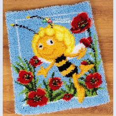 Hot 3D Latch Hook Rug Kits DIY Needlework Unfinished Crocheting Rug Yarn Cushion Mat Happy Bee Handicraft Embroidery Carpet Rug