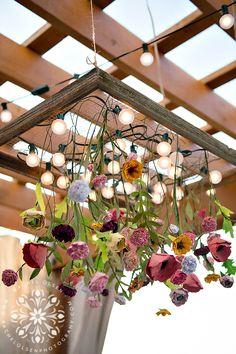 DIY Garden Party Floral Chandelier. Perfect for a wedding or garden party. Rachel Olsen Photography for Suburban Bitches