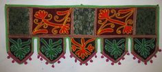 INDIAN COTTON WINDOW VALANCE TOPPER VINTAGE EMBROIDERY DOOR DECOR HANGING VR33 #Handmade