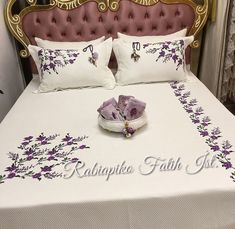 Image may contain: indoor Embroidery Flowers Pattern, Hand Embroidery Stitches, Hand Embroidery Designs, Ribbon Embroidery, Bed Sheet Curtains, Designer Bed Sheets, Embroidered Bedding, Crochet Bedspread, Bedclothes