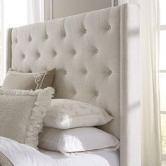 Wingback Button Tufted Cream Queen Size Upholstered Headboard - 16557336 - Overstock.com Shopping - Big Discounts on Headboards