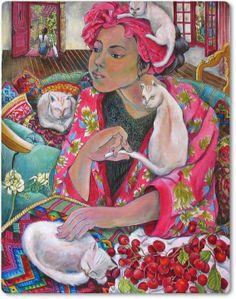 entre colores, ilustración de Nerida de Jong - cat art