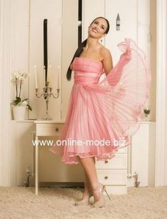 Knielanges Abendkleid in Rosa mit Tüll Rock von www.online-mode.biz