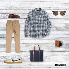 ** MENS OUTFIT IDEAS #72 ** Outfit #72 features a number of items from J. Crew. These include a Faded Gingham shirt, all white New Balance 791s whith a gum sole, and of course th...