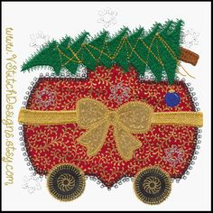 One of the cars from the Christmas Train machine embroidery applique set.  Compatible with the AccuQuilt  Train die.  By V-Stitch.