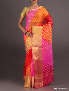 Shabnam Vibrant Broad Gold Border #LehariyaSilkSaree