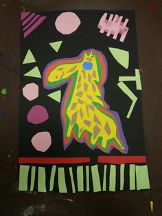 Art Around the World class: Panama Giraffe construction paper mola