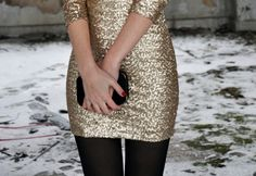 gold sequin dress, red nail polish, black clutch & tights