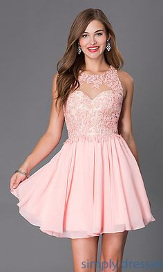 Beaded Lace Short Sleeveless Dress  at SimplyDresses.com