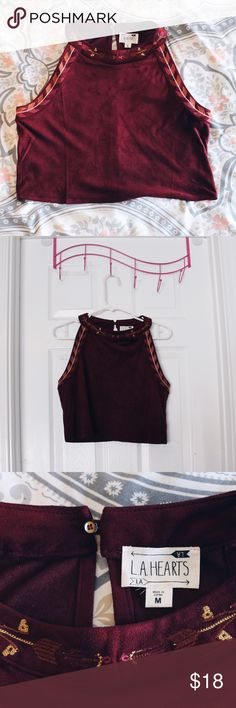 Velvet crop top PacSun: LA Hearts burgundy velvet crop top, never worn PacSun Tops Crop Tops