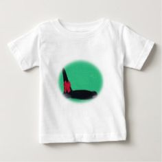 Christmas Orca Whale with Red Bow on Green Backgro Baby T-Shirt