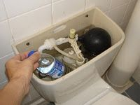 Put a full bottle of water in your toilet tank to save water with each flush!