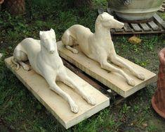 Alabaster Greyhound Gate Statues