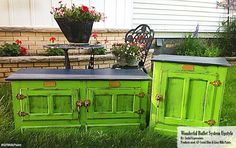 Joyful Expressions, https://www.facebook.com/pages/Joyful-Expressions/285756318104132?fref=ts, refinished these great bright pieces with General Finishes Lime Green and Coastal Blue Milk Paint. If you post pics involving GF products, be sure to tag @GeneralFinishes along with names of the products used, and we'll be happy to share them on our social media channels and website. #generalfinishes #gfmilkpaint #getthelook