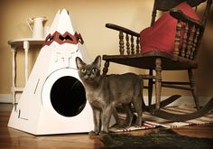 The Native American Teepee: This cardboard house comes from the Canadian company Loyal Luxe; the tipi package contains three cardboard balls and is available with six interchangeable decorative options. It comes flat and is easy to assemble.
