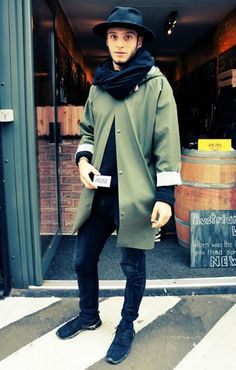 Street Style : black hat,  scarf and shoes Black and green