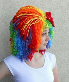 Clown Wig Halloween Costume Clown Costume Orange Red by Zumpus