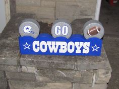 """Hand Painted Cowboys Straight Paver with 3 Toppers (Cowboy's Helmet, """"GO"""" & Football) painted by An Artistic Touch at  https://www.etsy.com/shop/AnArtisticTouch and   https://www.facebook.com/AnArtisticTouch"""