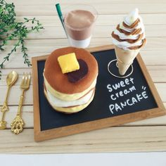 カフェ風ままごとフラペチーノとパンケーキ