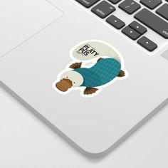 Hello Platypus Cute Sticker by Theprintedsparrow - White Background -