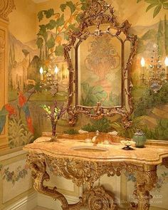 WOW......What a beautiful powder room