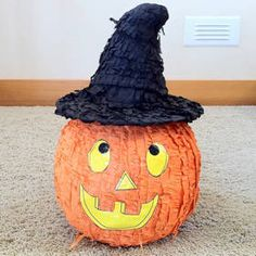 Halloween Pumpkin Mexican Pinata with Witch Hat New Holiday Display