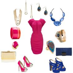 Fuschia Dress Styled 2 Ways, created by closetshoefetish on Polyvore