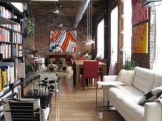 Urban loft - I love this look - doesn't fit with my current space, but a girl can dream can't she?