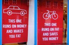 Mensagem comparando carro e bicicleta de forma divertida!  Fonte: http://bit.ly/1z2ebmQ