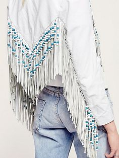 Lyst People Spell Womens Hendrix Fringe Leather Jacket In White Lady Fit, Boho Outfits, Fashion Outfits, Fashion Weeks, Looks Country, Fringe Leather Jacket, Fringe Coats, Leather Jackets, Jeans Denim