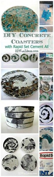 MAKE CRUSHED GLASS & TIE-DYE CONCRETE COASTERS #diy #craft http://livedan330.com/2014/11/02/make-crushed-glass-tie-dye-concrete-coasters/