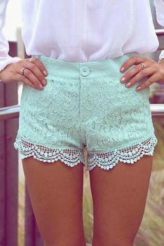 Mint Lace Floral Shorts