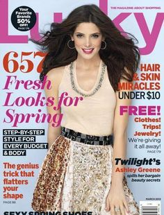 Who made Ashley Greene's tank top and skirt that she wore on the cover of Lucky magazine? Shirt – Mulberry  Skirt – Dolce & Gabbana