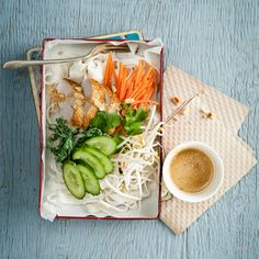 Use yesterday's roast chicken for this simple delicious Asian salad with a beautiful peanut sauce. For a spicier vinaigrette, leave the seeds in the chili pepper.