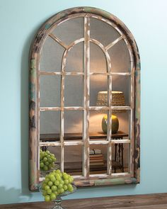 Or an entryway table? Arched Window Mirror, Window Frame Decor, Hall Mirrors, Arched Windows, Diy Mirror, Windows And Doors, Farmhouse Wall Art, Farmhouse Decor, Home Crafts