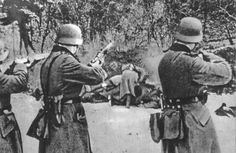 Germans executing Polish civilians in 1939. Note the pile of bodies. The real problem with mass killings? Disposing of the bodies. Such a chore for the Hitlerites.