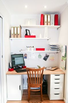 Modern White Color Scheme Home Office Design in the Closet with Minimalist  White Wooden Wall Shelf and Modern Wooden