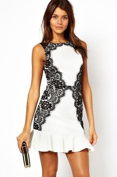 White Sleeveless Lace Ruffle Dress - abaday.com