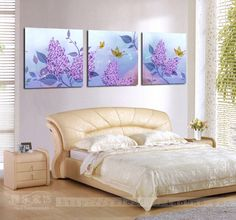 Modern garden living room bedroom dining triple frameless painting decorative painting mural wall painting abstract purple flowers Butterfly - Taobao