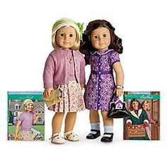 American Hostorical Character Doll, era 1934 ~ Kit and Ruthie ~ Even though the Great Depression was filled with hard times for families, Kit helps hers by being resourceful. With her best friend, Ruthie, by her side, Kit figures out clever ways to make do with what she has. She also learns to treasure what money can't buy—friends and family.