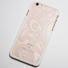 White Henna Paisley iPhone 6 / 6S Hard Case - Boho Chic floral pattern Phone Case